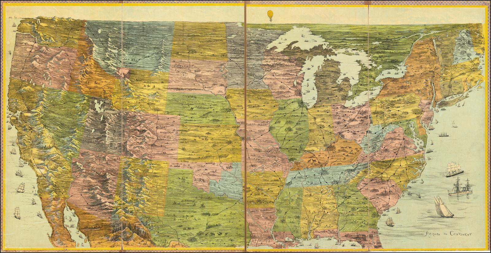 """Ранний пример карты настольной игры Parker Brothers: """"Через континент"""""""