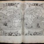 Ранняя карта мира Монтана в восьмом томе многоязычной Библии Плантена
