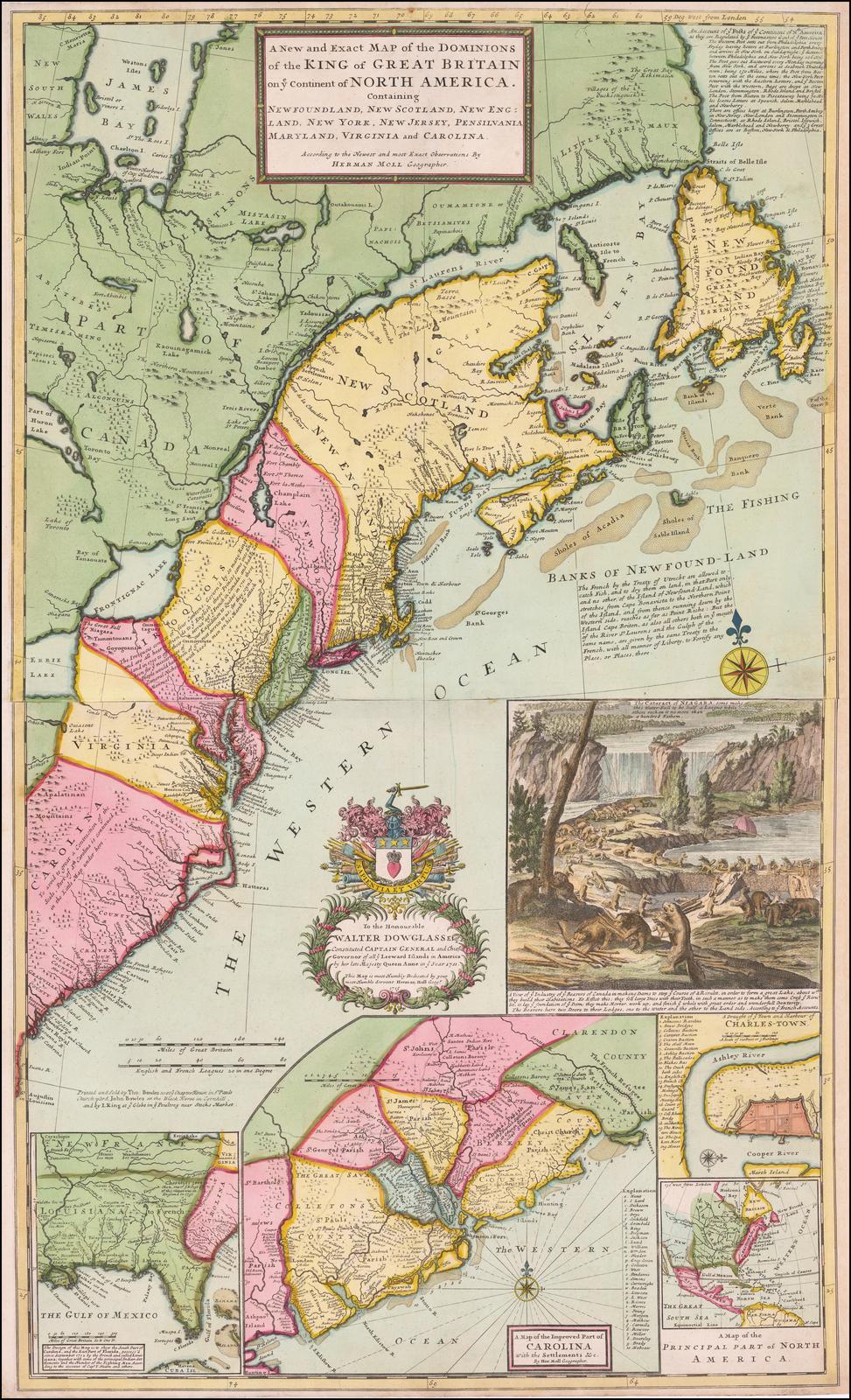 Раскрашенный пример основополагающей карты Молла британских колоний в Америке