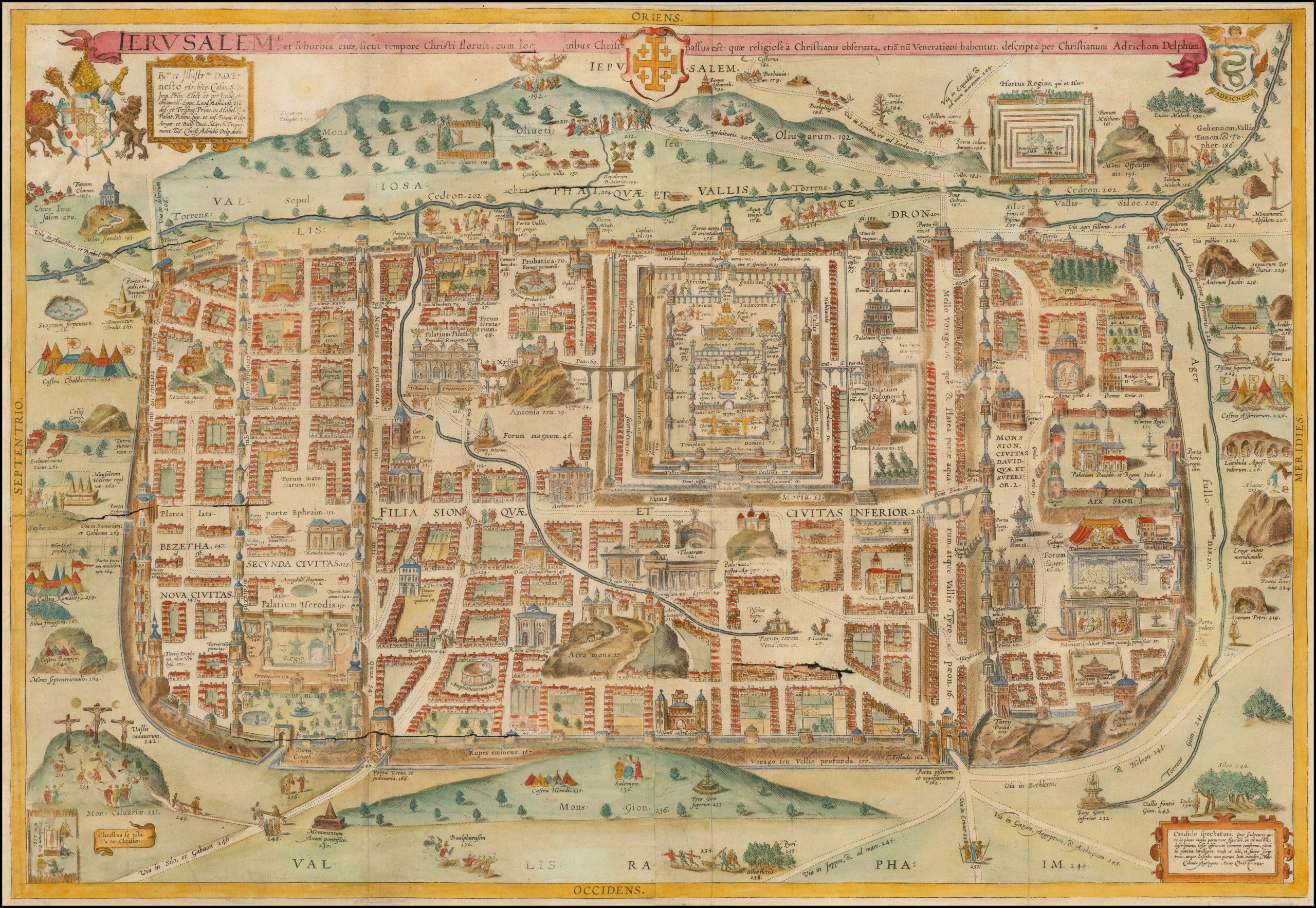 раскрашенный вручную пример плана древнего Иерусалима и его окрестностей во времена Иисуса Христа - карта Кристана Ван Адрихома
