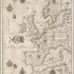 Редкая английская копия общей морской карты Европы Вагенера - самая ранняя морская карта, выгравированная в Англии