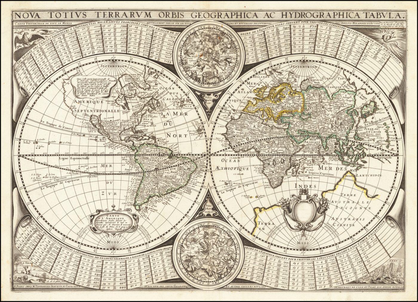 Редкая французская Карта Мира начала XVII века с Калифорнией в качестве острова