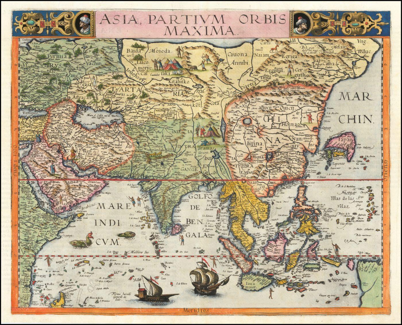 Редкая карта Азии XVI века - раннее изображение Юго-Восточной Азии, Китая и Японии