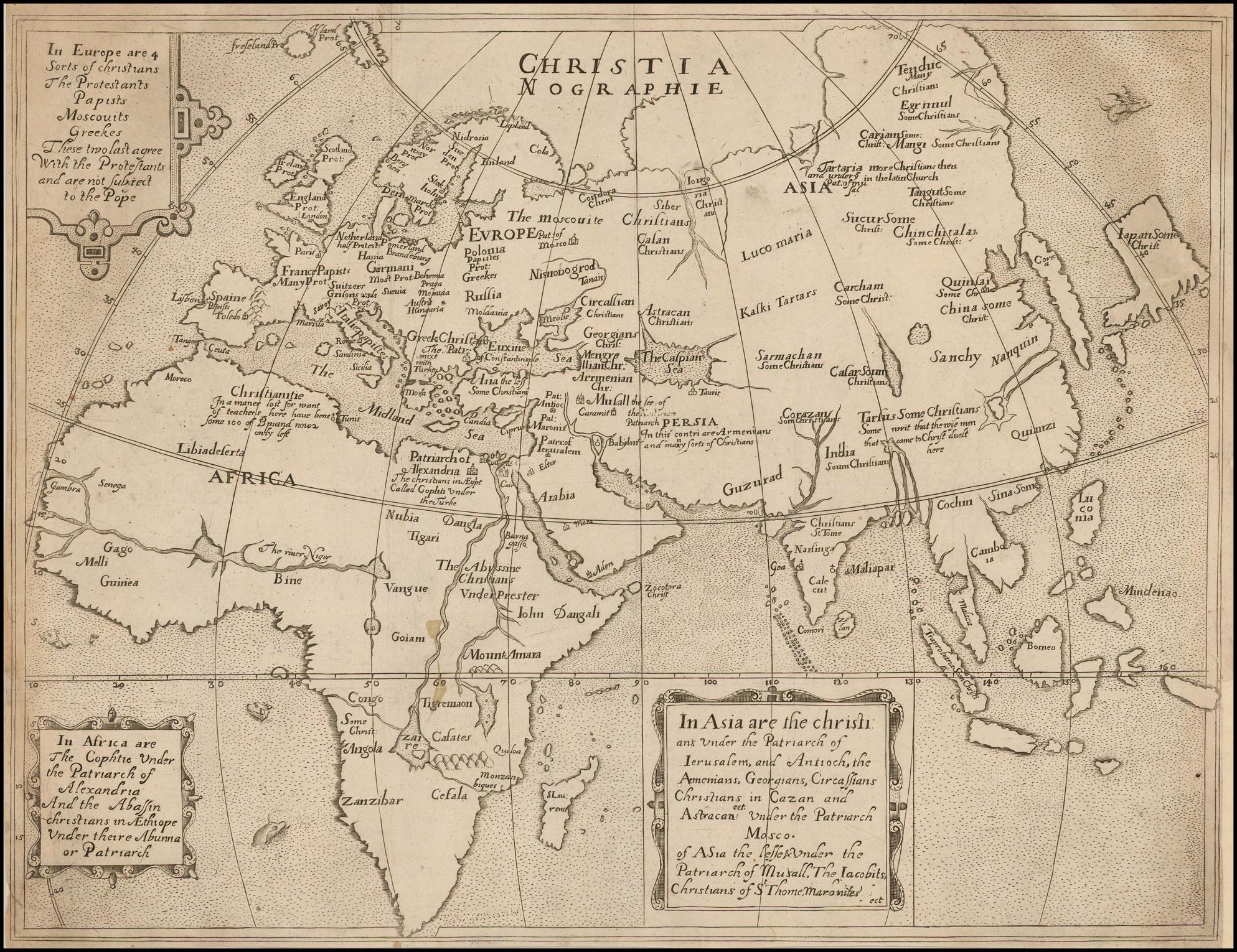 Редкая карта древнего мира из Христианографии Эфраима Пейджитта