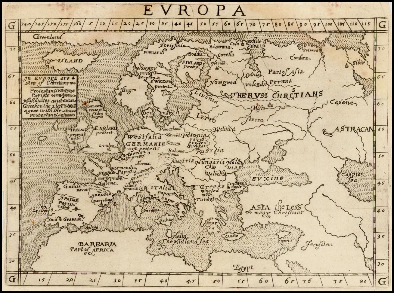 Редкая карта Европы, из Христианографии Эфраима Пейджита