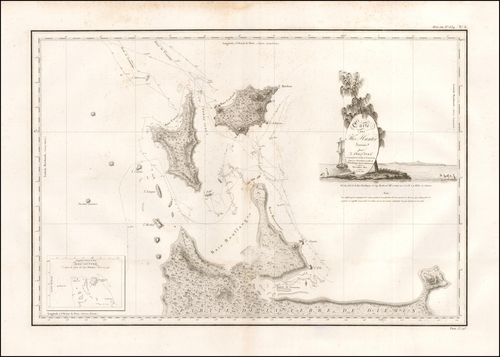 Редкая карта Фрейсине 1812 года с изображением Австралии и острова Хантер