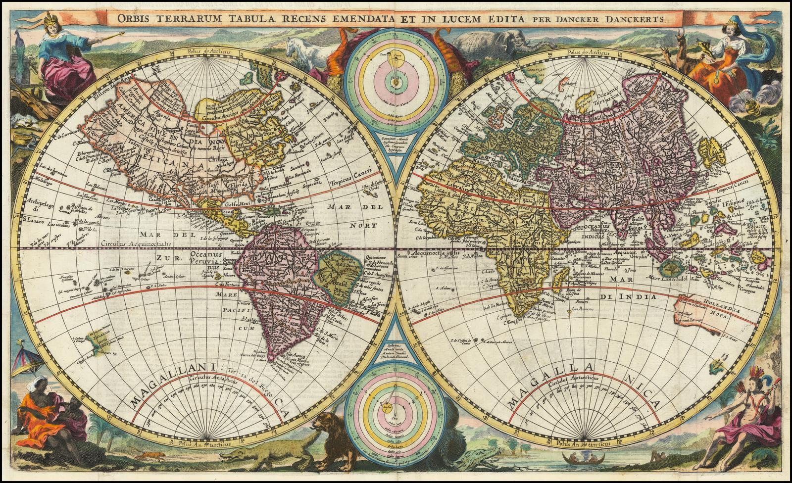 Редкая карта мира на которой изображены оба путешествия Абеля Тасмана в Австралию и Новую Зеландию