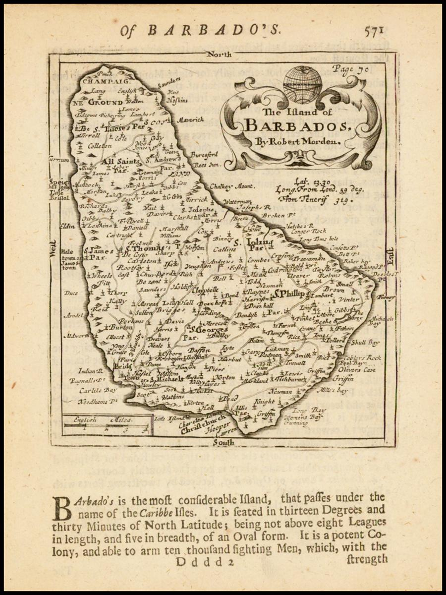 Редкая миниатюрная карта Барбадоса с названиями городов, приходов, рек, заливов, гаваней