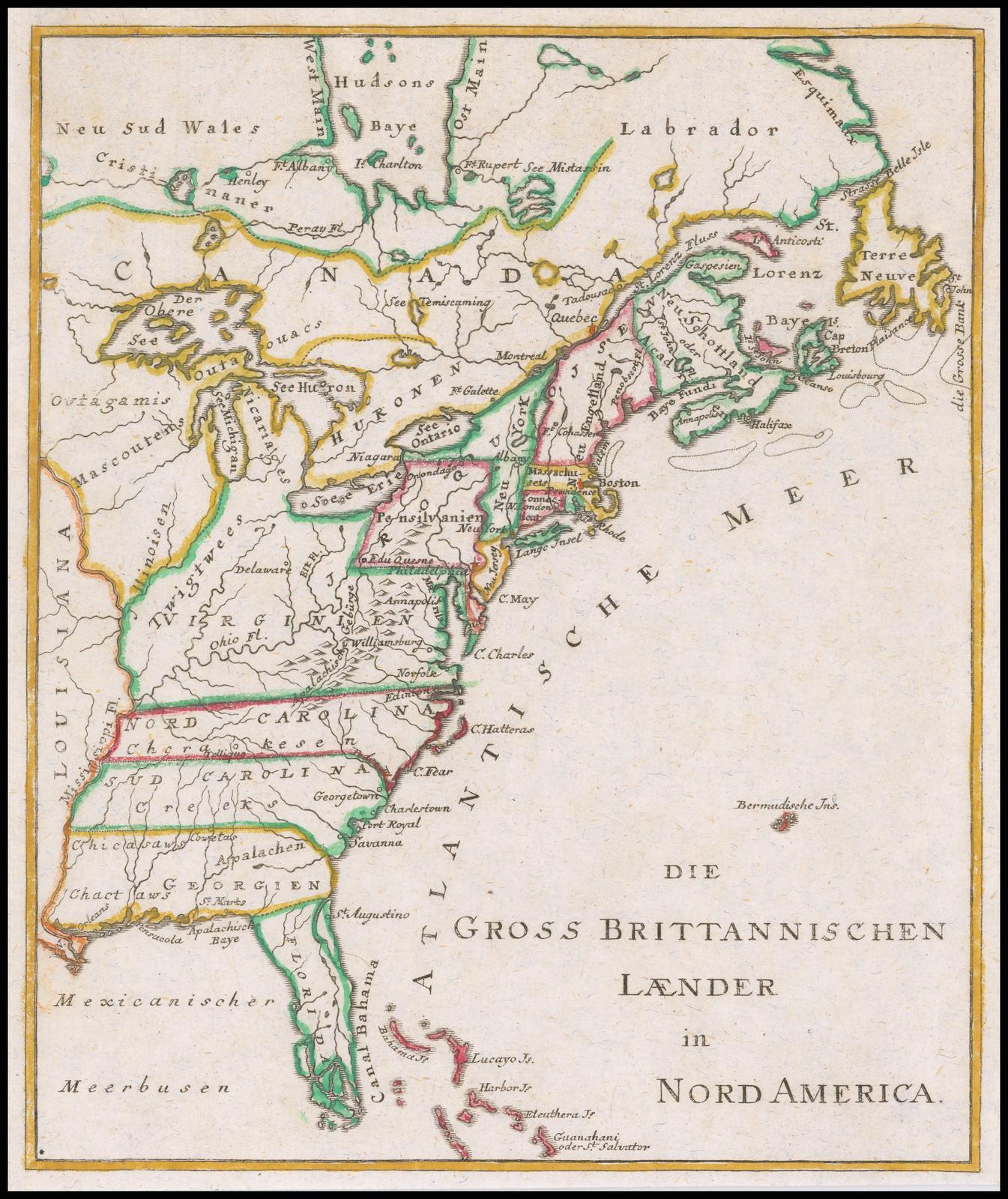 Редкая немецкая карта эпохи революционной войны британских колоний в Северной Америке