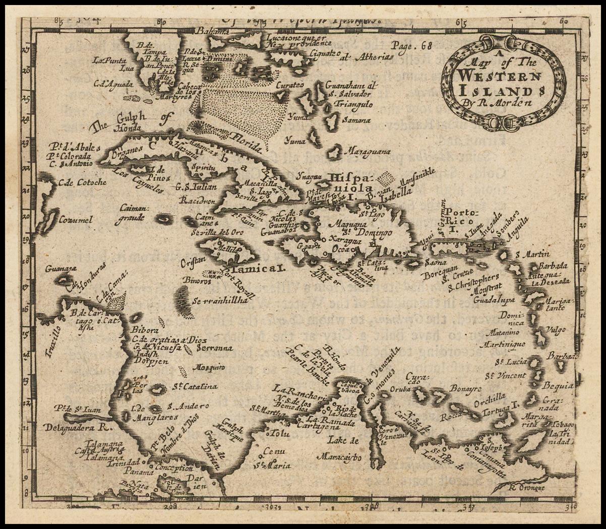 Редкая ранняя английская карта Вест-Индии, Южной части Флориды и Багамских островов