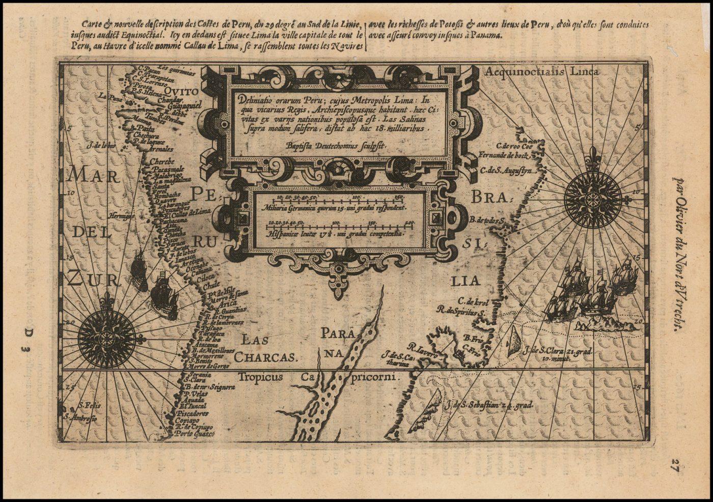 Редкая ранняя карта берегов Бразилии, Чили и Перу и верхней Рио-платы - одна из самых важных южноамериканских карт начала XVII века