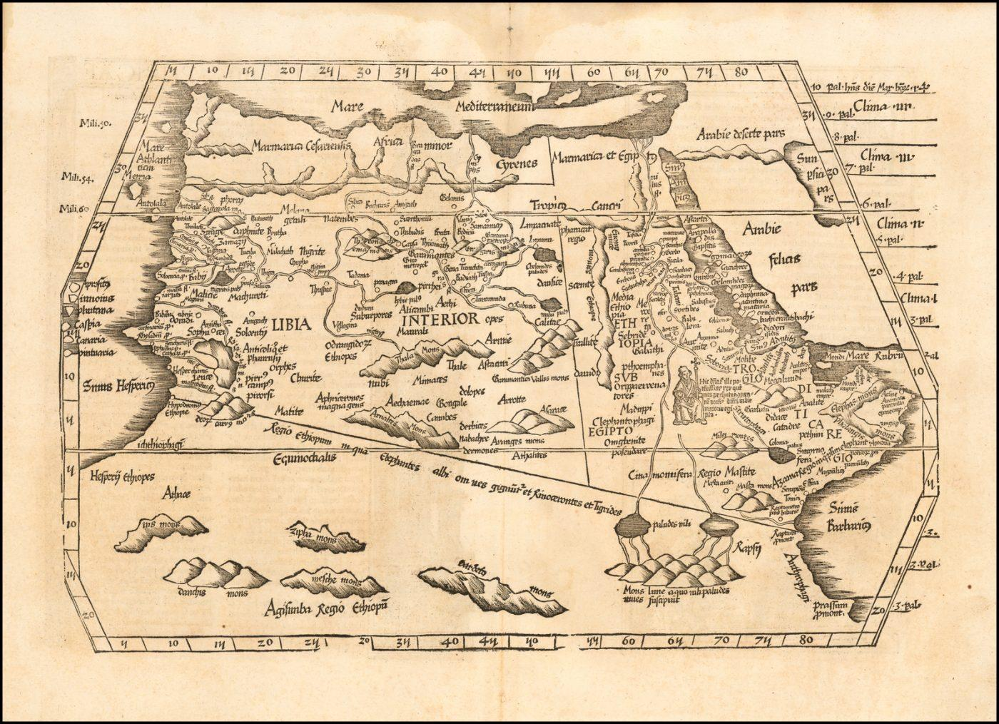 """Редкая ранняя карта Северной Африки из раннего издания """"Географии"""" Птолемея"""