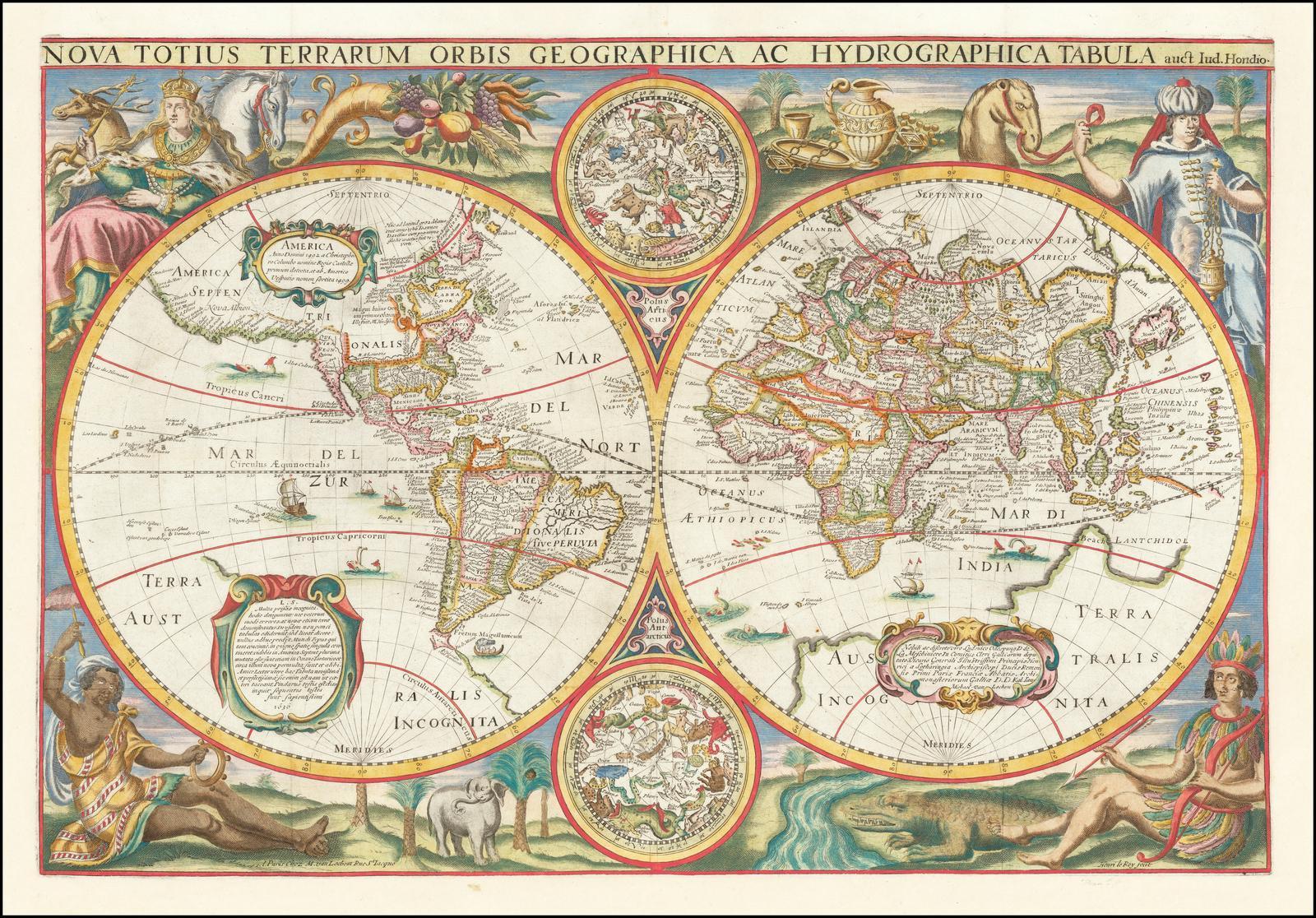 Редкая, высоко декоративная двойная полусферическая карта мира