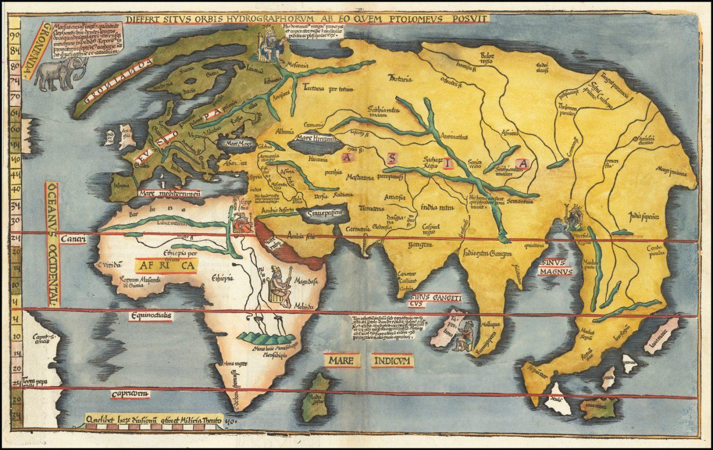 """Редкое раннее издание Лорана Фриза, издание """"Адмиральской карты"""" Мартина Вальдзимюллера, из издания 1525 года Claudii Ptolemaei Alexandrini Geographicae"""