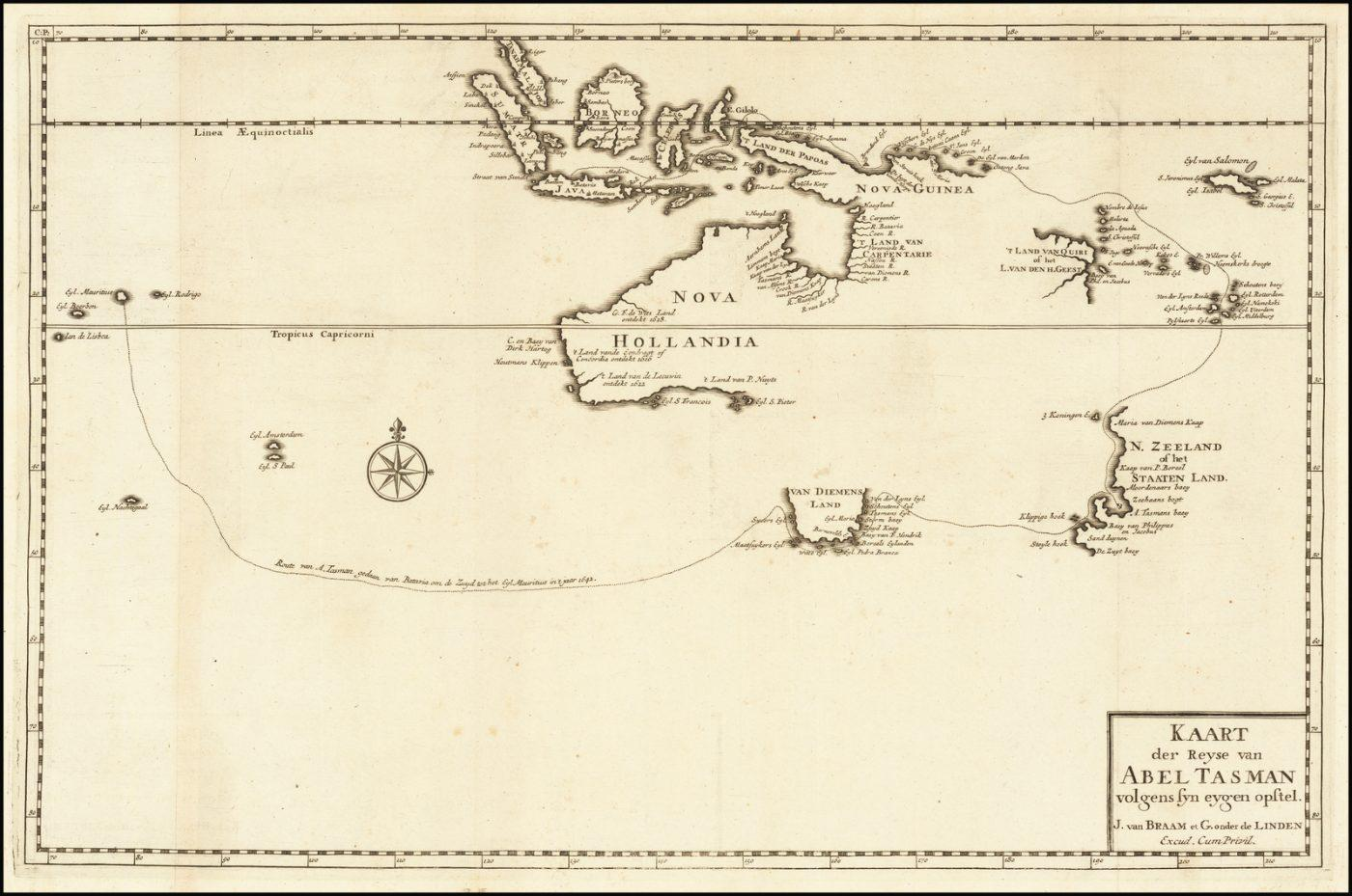 самая ранняя печатная карта Австралии основанная на открытиях Тасмана