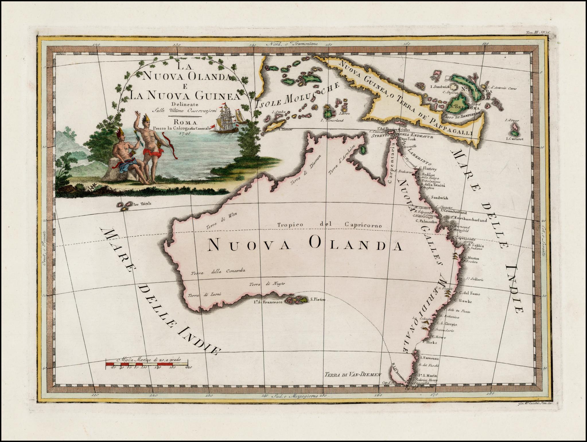 Старинная карта Австралии работы Кассини, сделанная в 1798 году