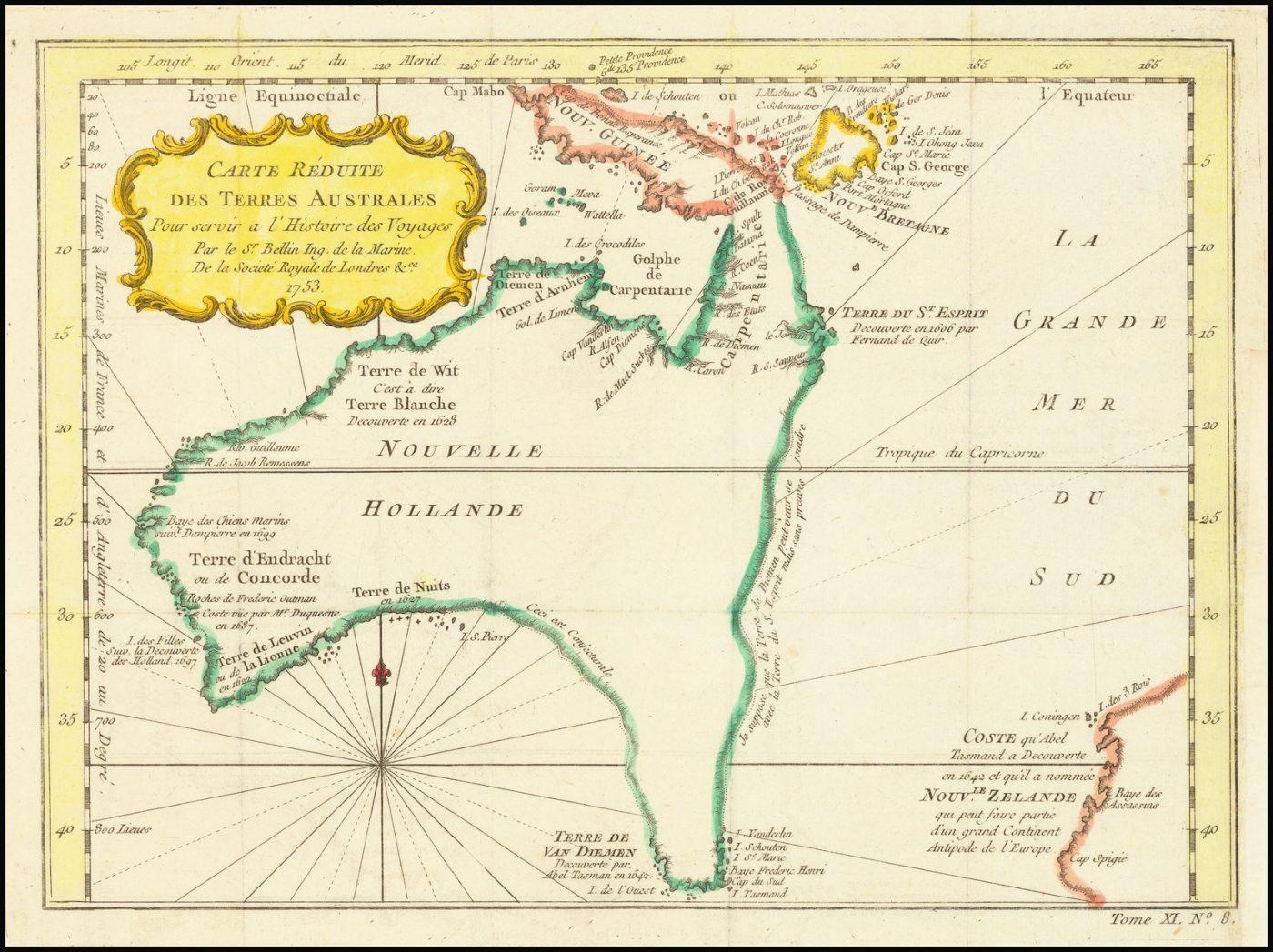 Старинная карта Австралии с голландскими открытиями и новаторскими географическими теориями