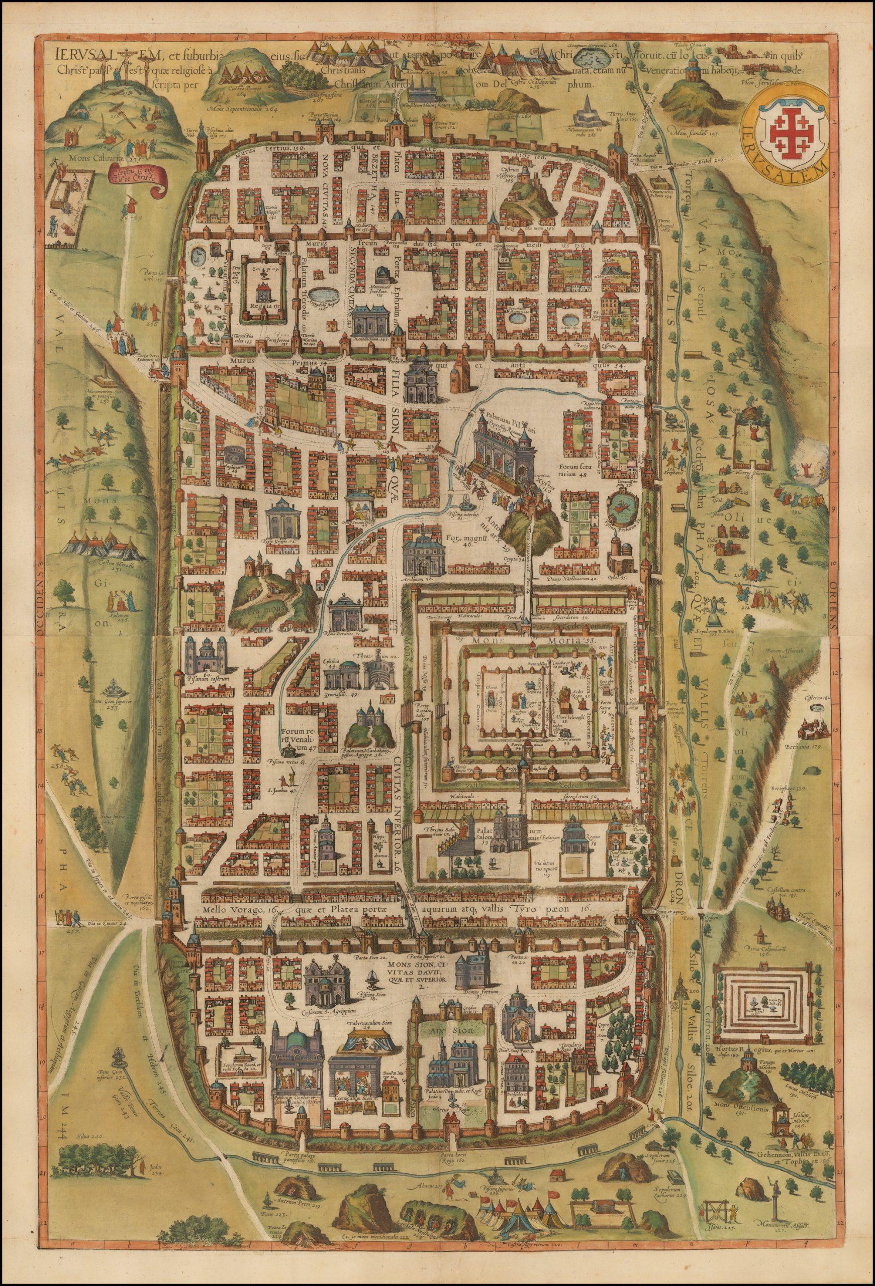 Старинная карта Иерусалима работы Брауна и Хогенберга, сделанная в 1588 году