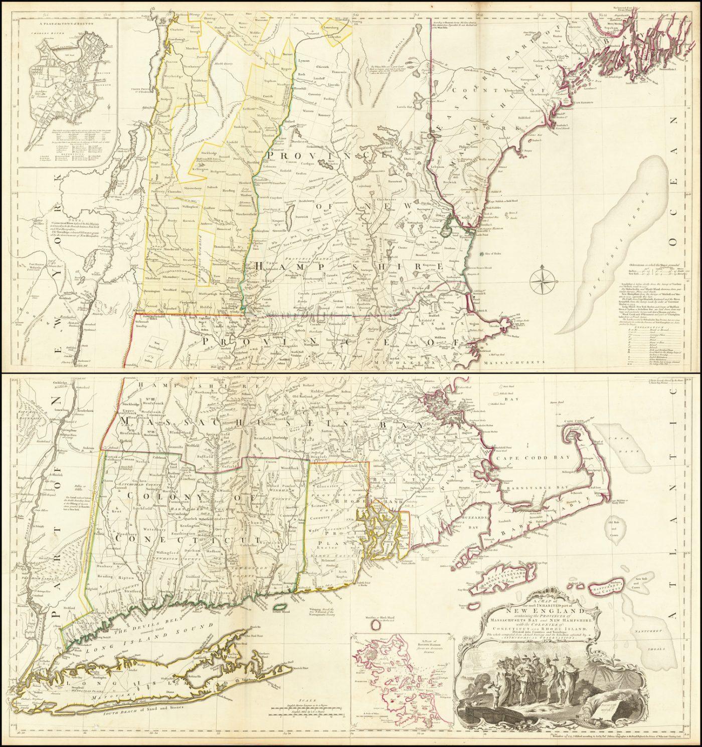 Старинная карта колониальной Новой Англии во времена американской революции