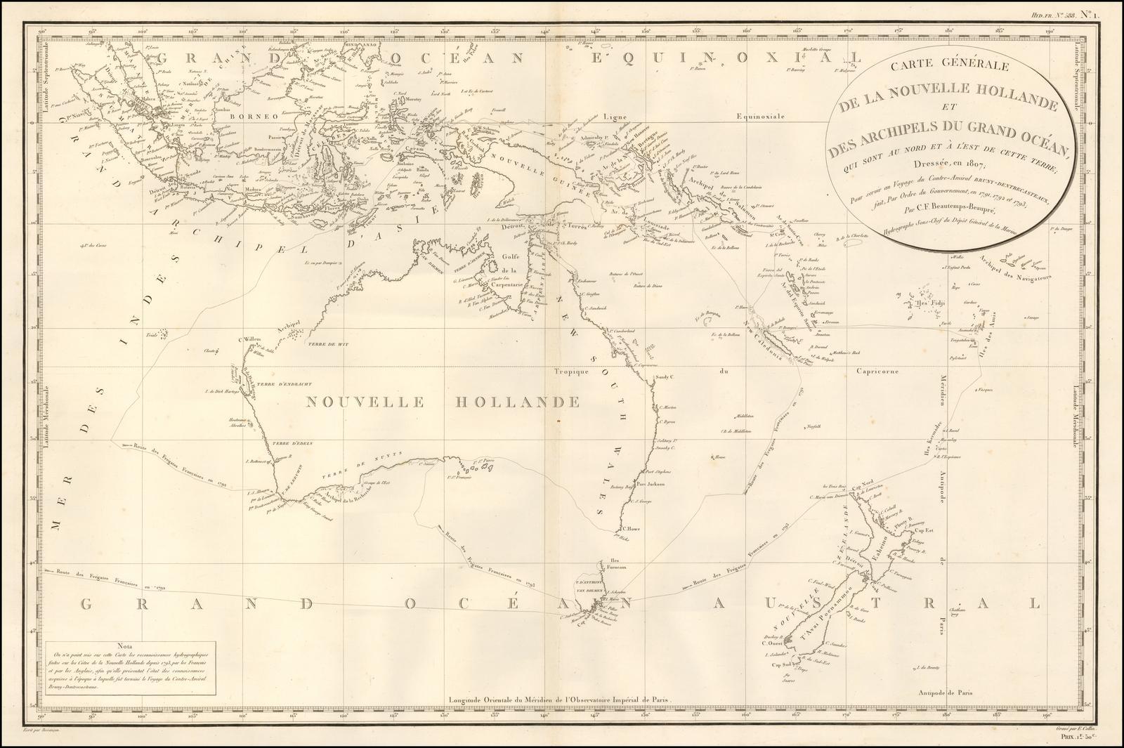 Старинная карта с изображением Австралии от Depot de la Marine / DEntrecasteaux, 1807