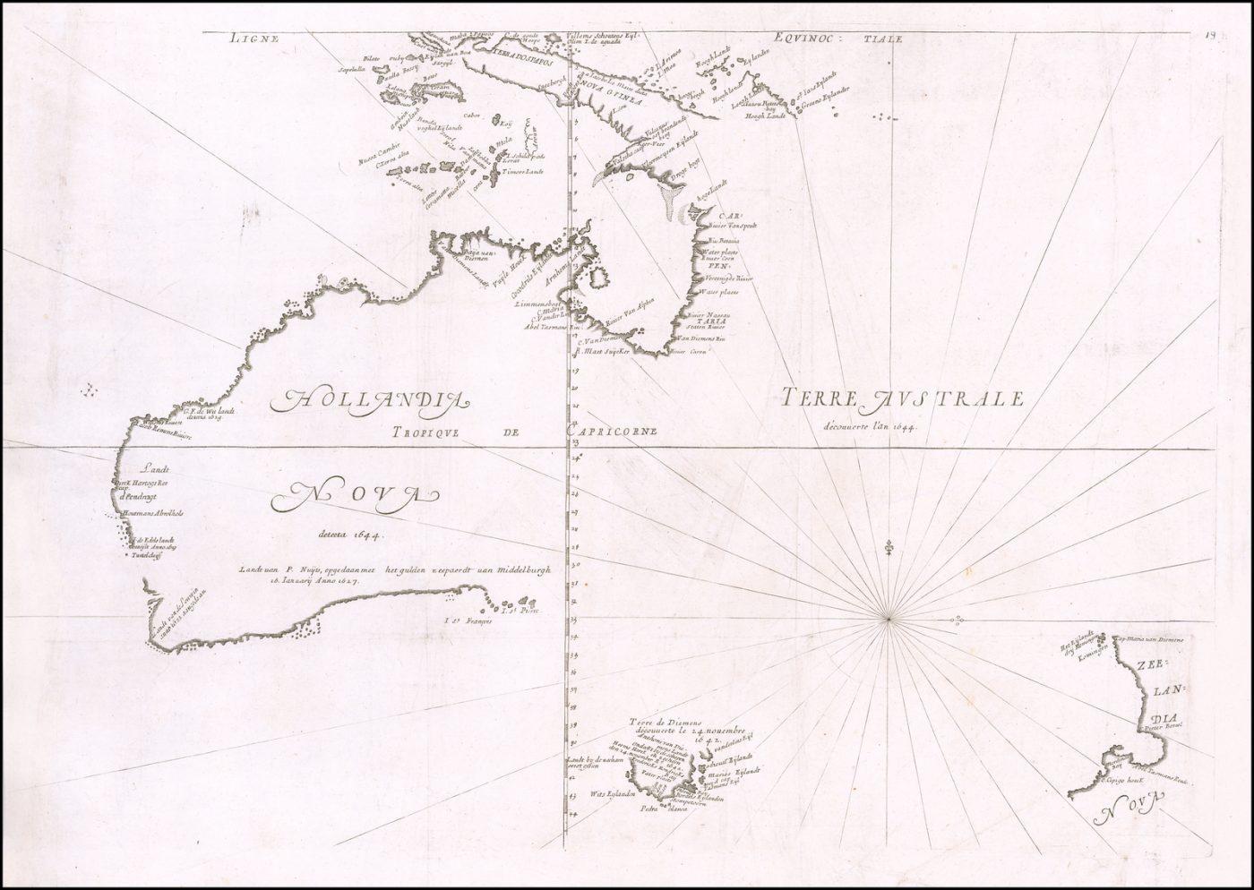 Старинная карта Тевено 1663 года с изображением Австралии - редкое издание