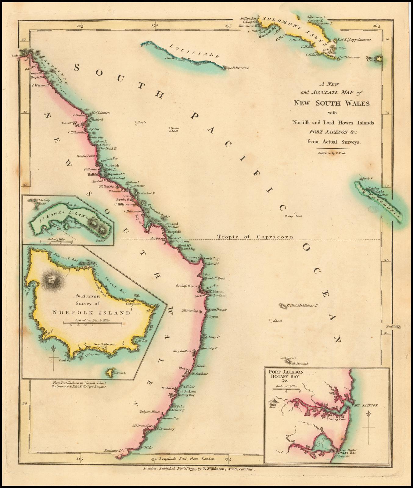 Старинная карта Уилкинсона 1794 года с изображением Австралии