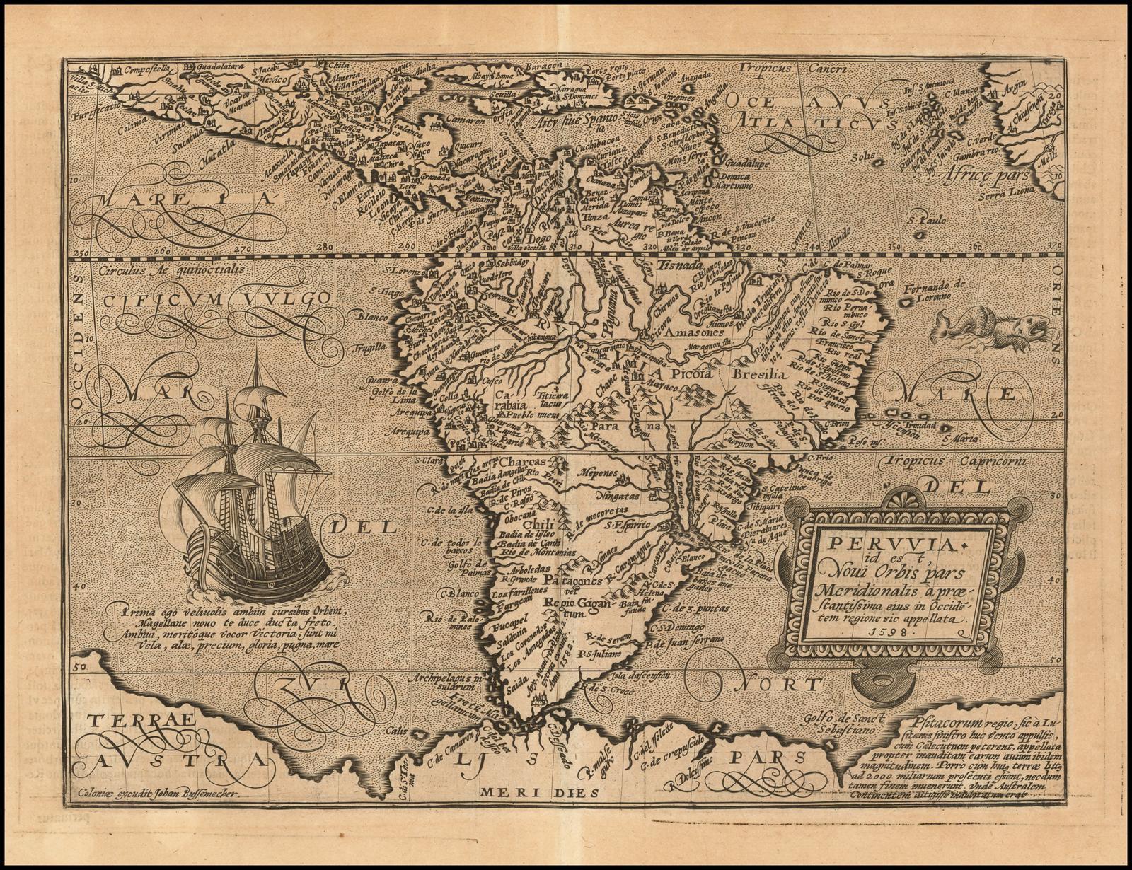 Старинная карта Южноамериканского континента 16 века, гравированная в Кельне Иоганном Буссемахером для Quad