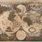 Старинная настенная карта мира 17 века работы Корнелиса Данкертса