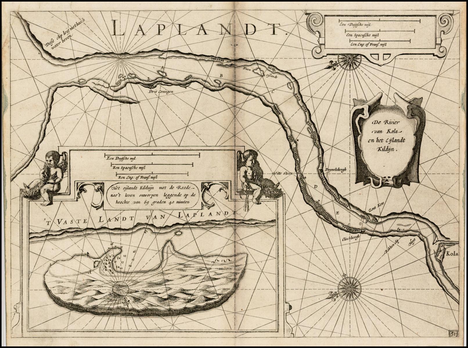 Старинная Полярная карта Блау сделанная в 1623 году
