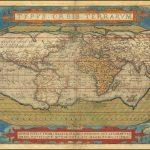 Старый цветной пример первого издания знаменитой карты мира Ортелиуса