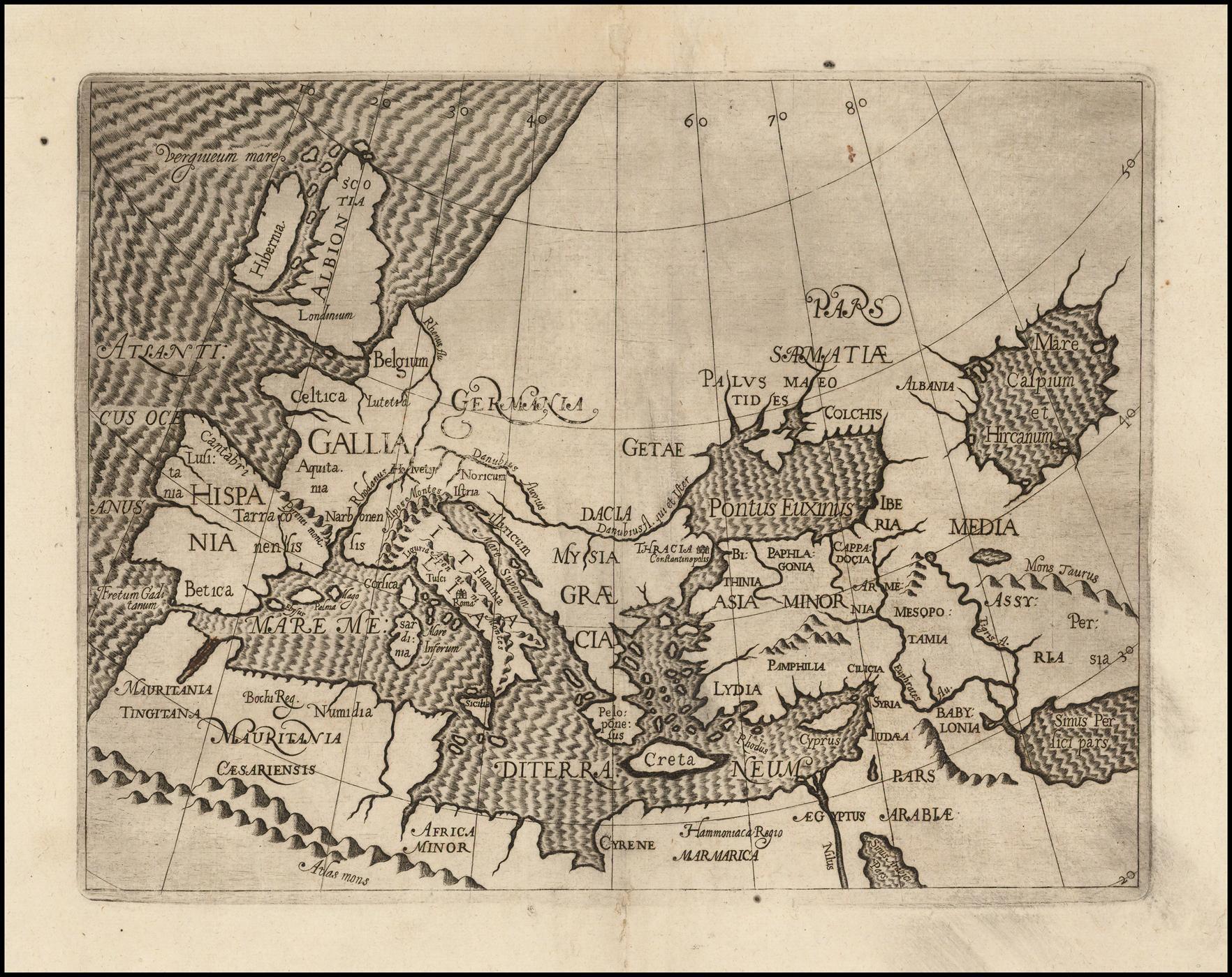 Увлекательная ранняя карта Европы, Средиземноморья, Малой Азии и части Персии
