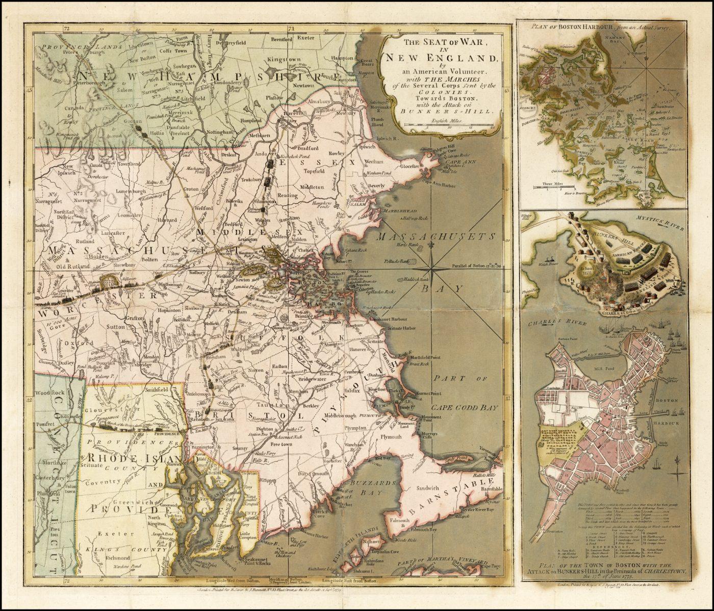 Важная ранняя бортовая карта и план битвы при Банкер-Хилле и окрестностях Бостона, опубликованные издательством Sayer & Bennett в Лондоне в 1775 году