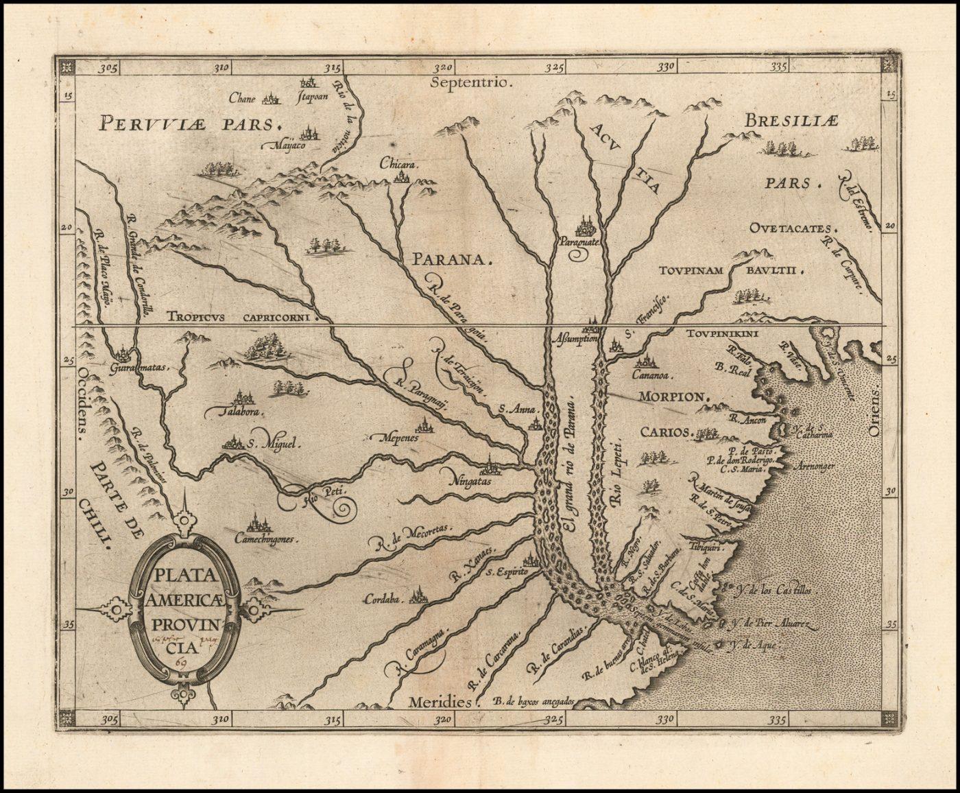 Важная ранняя карта Аргентины, Уругвая и южной части Бразилии с центром в Рио-плате, указанием ее водосборного бассейна и многочисленных ранних поселений
