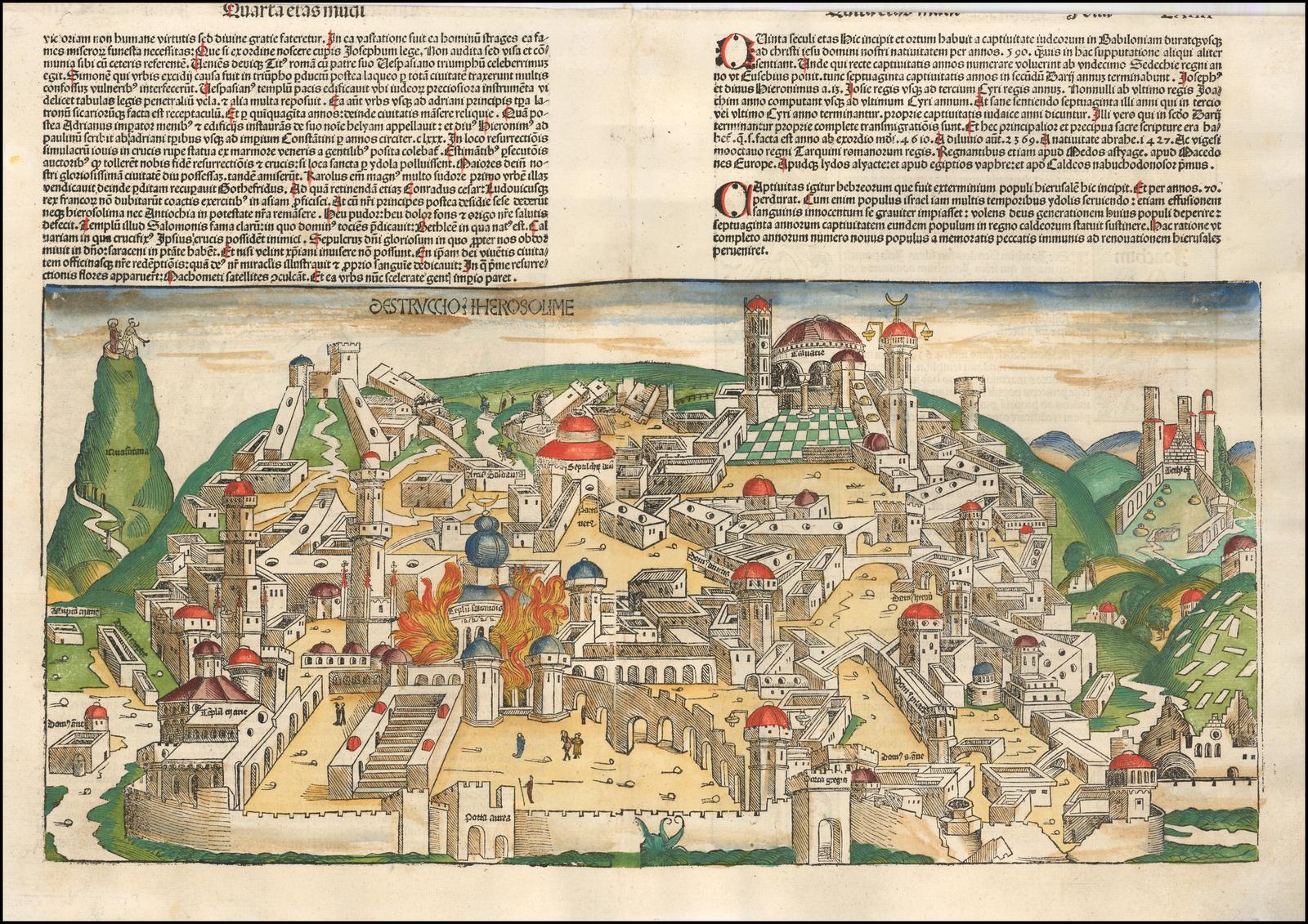 """Великолепный пример неизреченного взгляда Гартмана Шеделя на Иерусалим из немецкого издания """"Liber Chronicum"""""""