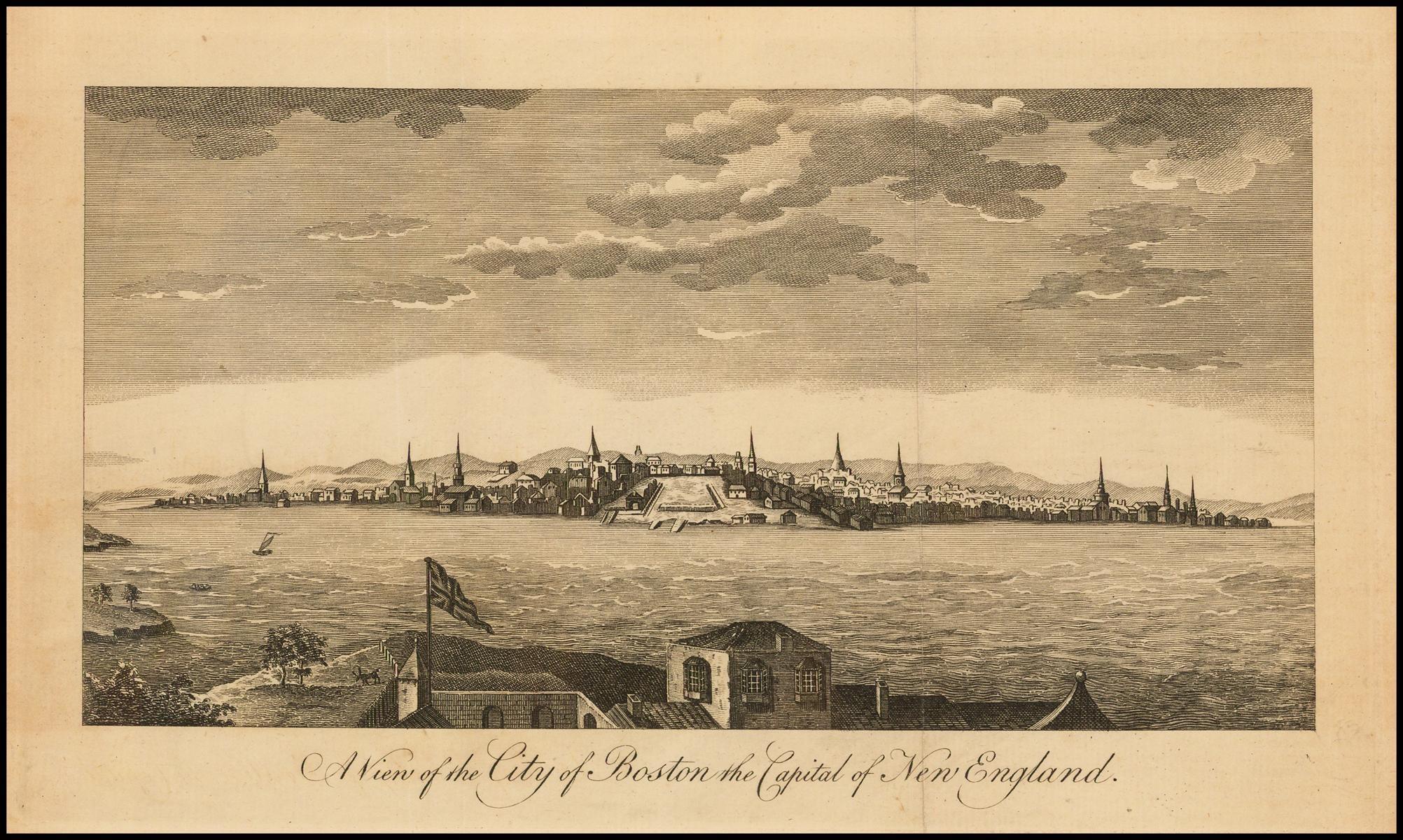 Вид на город Бостон столицу Новой Англии во время первых выстрелов Американской революции