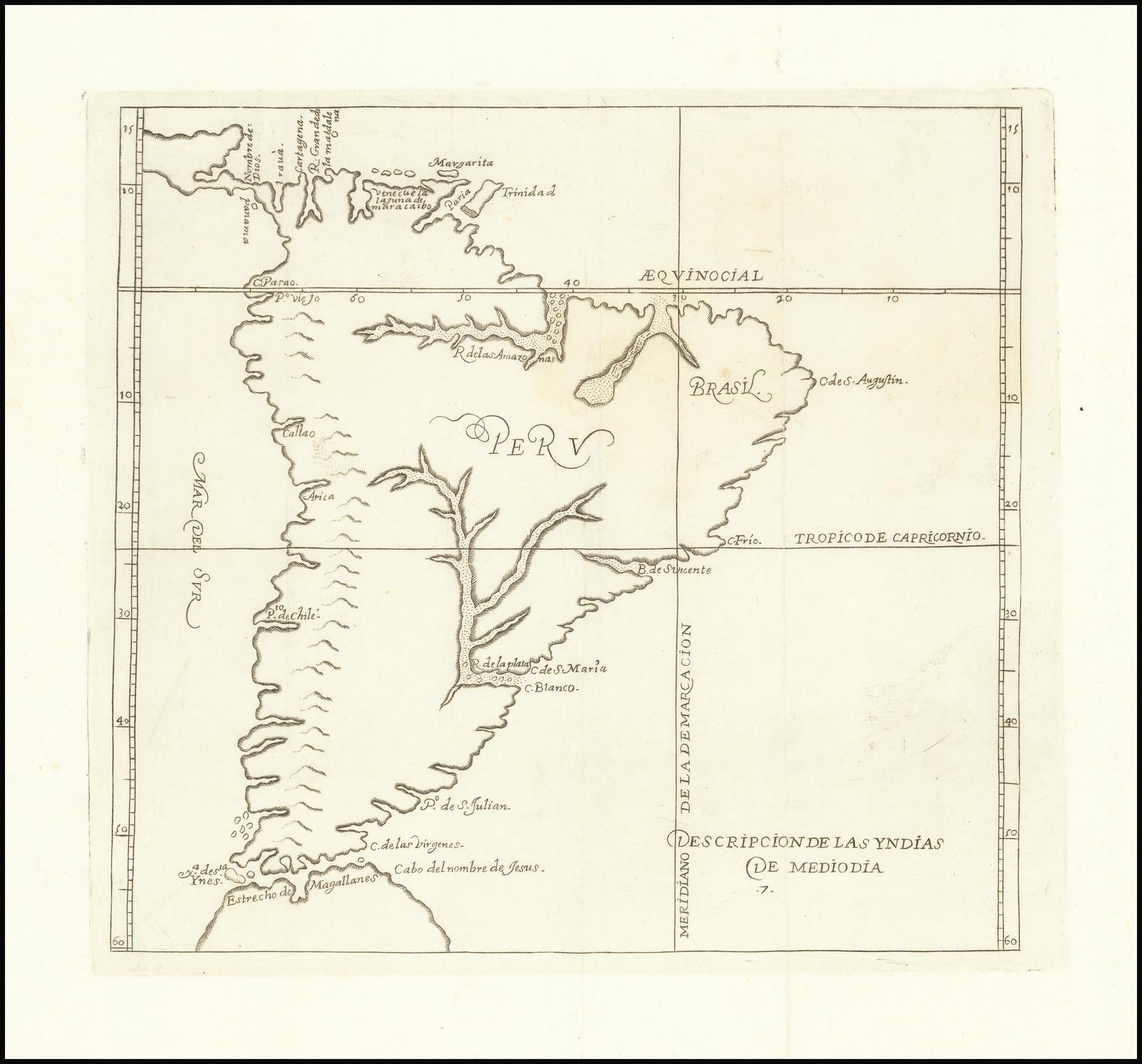 Второе издание карты Южной Америки Эрреры, впервые опубликованной в Мадриде в 1601 году