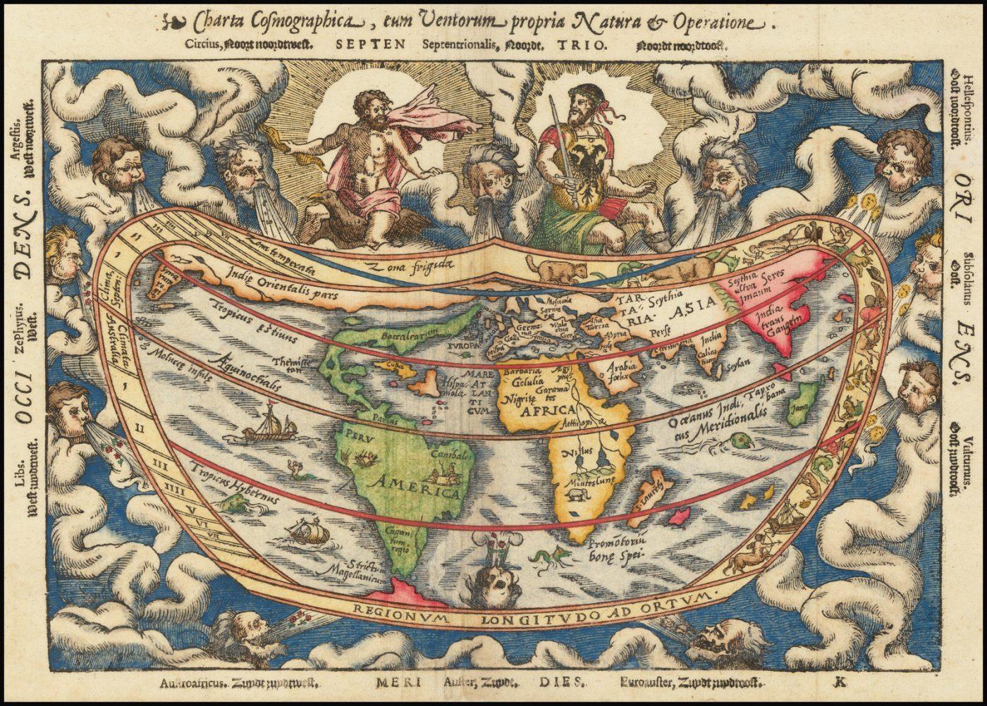 Второе издание сердцевидной карты мира Питера Апиана