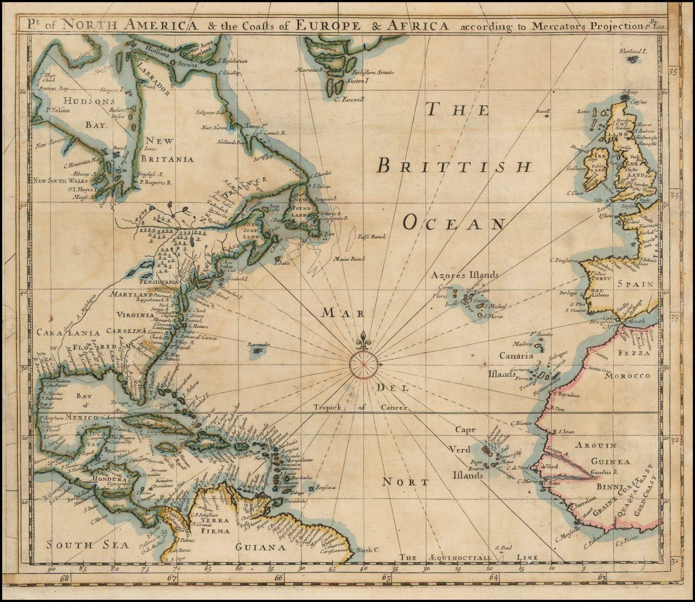 Второй сохранившийся пример отдельно изданной карты Северной Америки Филиппа Леа