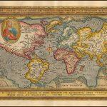 Яркий полноцветный пример прекрасной ранней карты мира, впервые появившейся в третьем издании Quad'S Europae totius orbis terrarum, опубликованном Иоганном Буссемахером