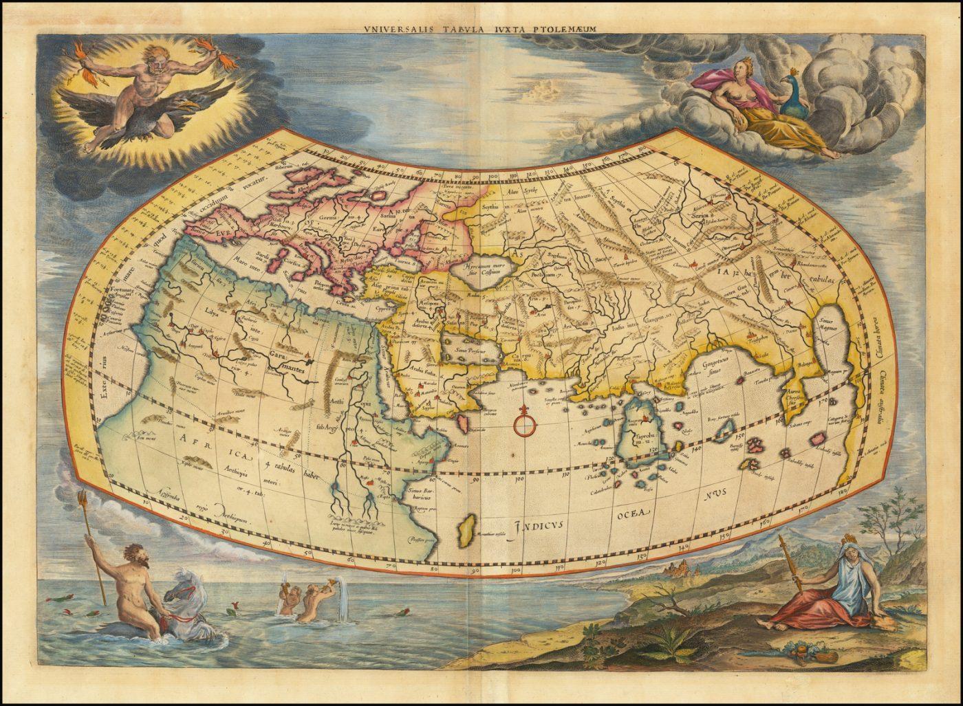 Яркий пример карты мира Меркатора, основанной на трудах Клавдия Птолемея, из более позднего издания книги Жерара Меркатора