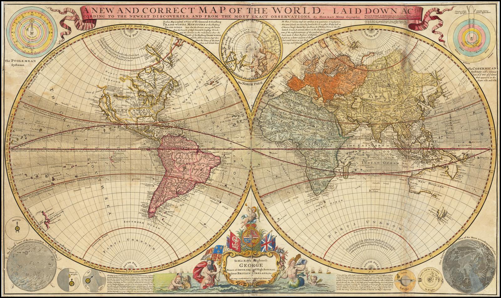 Английская настенная карта мира составленная по новейшим открытиям и из самых точных наблюдений