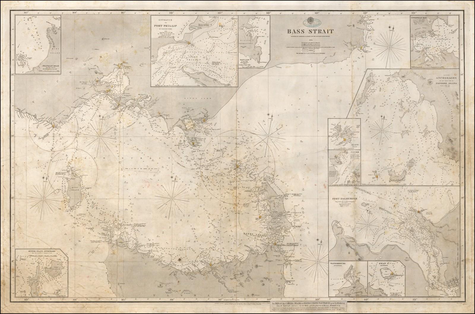 Аннотированный пример издания 1843 года британской Адмиралтейской карты с проливом между Мельбурном и Тасманией