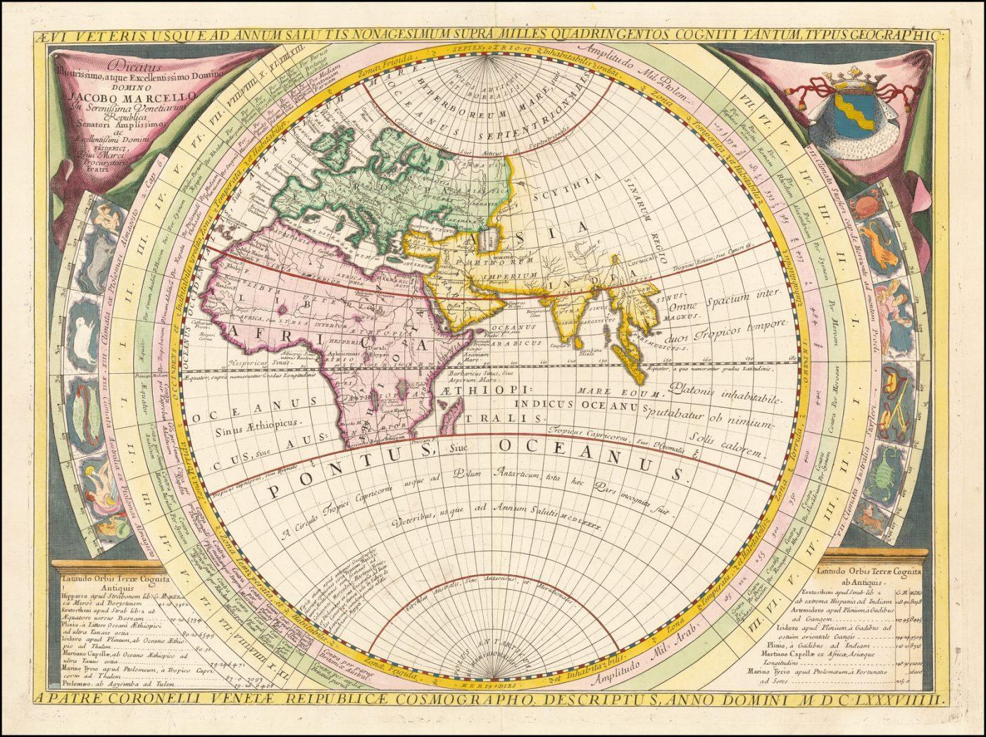Античная карта Древнего Мира Винченцо Коронелли 17 века