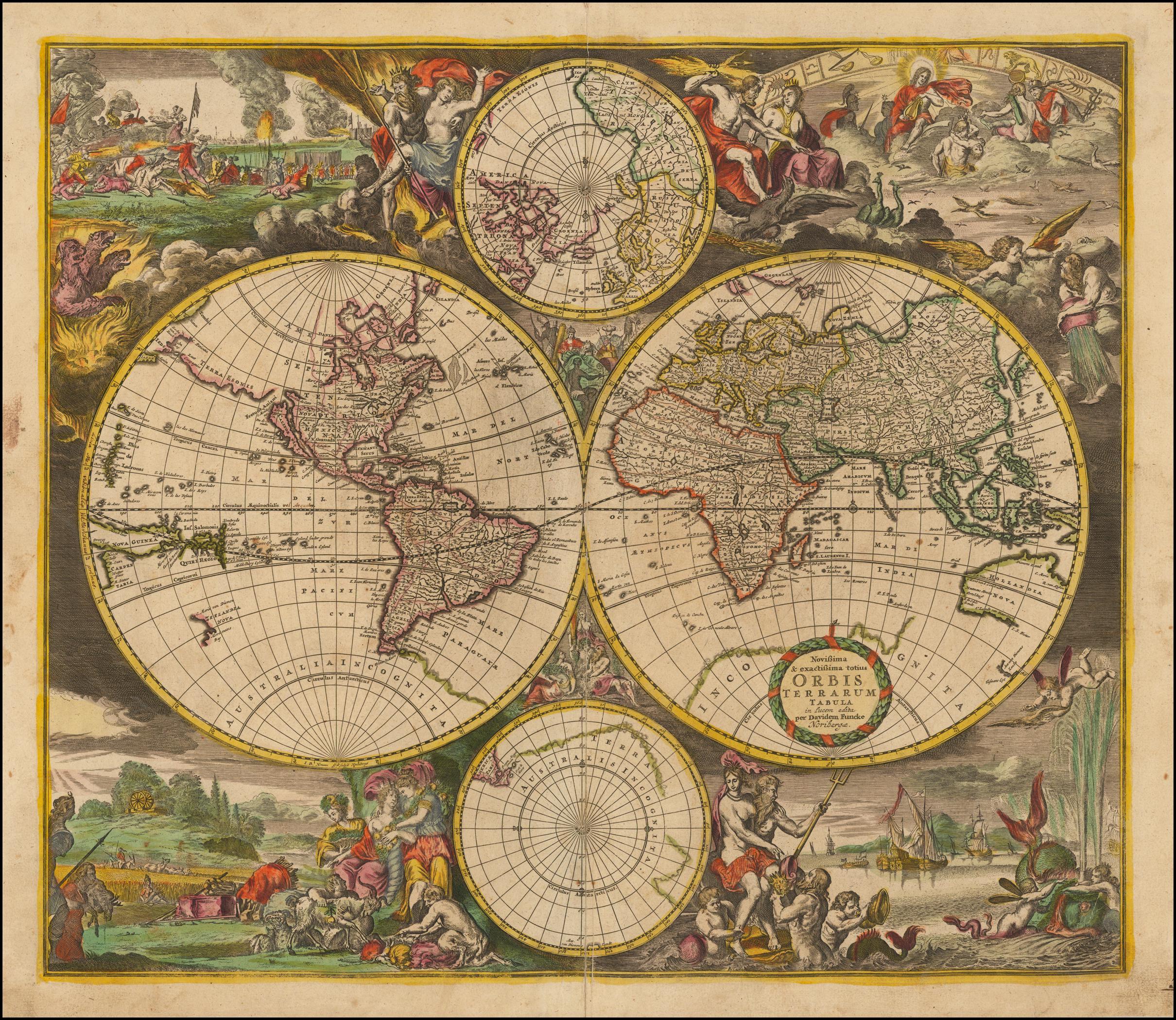 Античная карта мира Дэвида Функе 1700 года