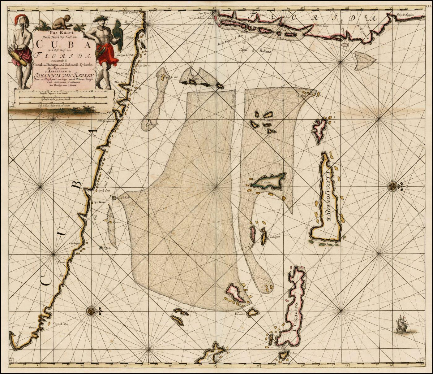 Античная карта Ван Кеулена Юго-Восточной Флориды, Кубы и Багамского канала
