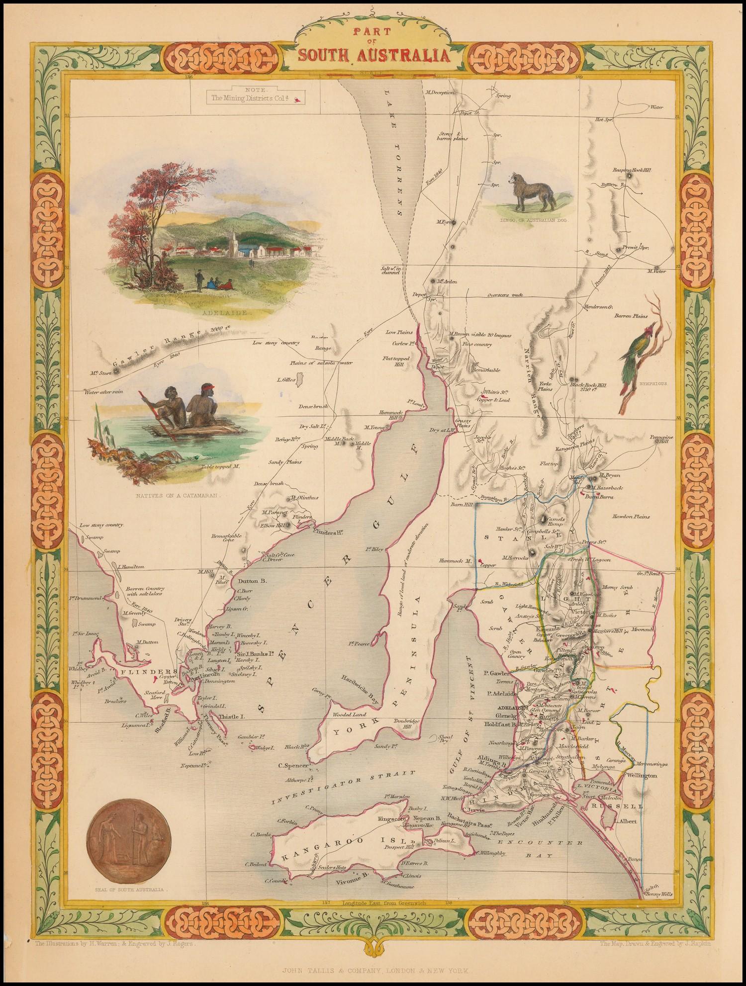 Часть Южной Австралии - карта Джона Таллиса 1851 года