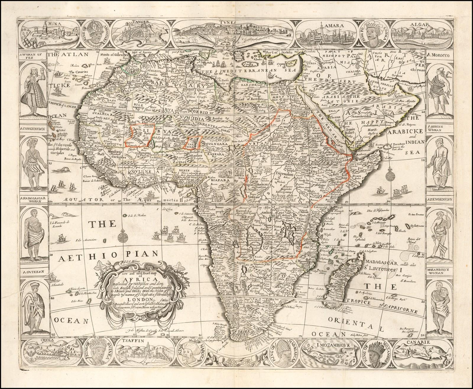 Чрезвычайно редкая карта Африки, включающая новые топонимы вдоль мыса Доброй Надежды, иллюстрирующая голландскую колонию, основанную в 1652 году