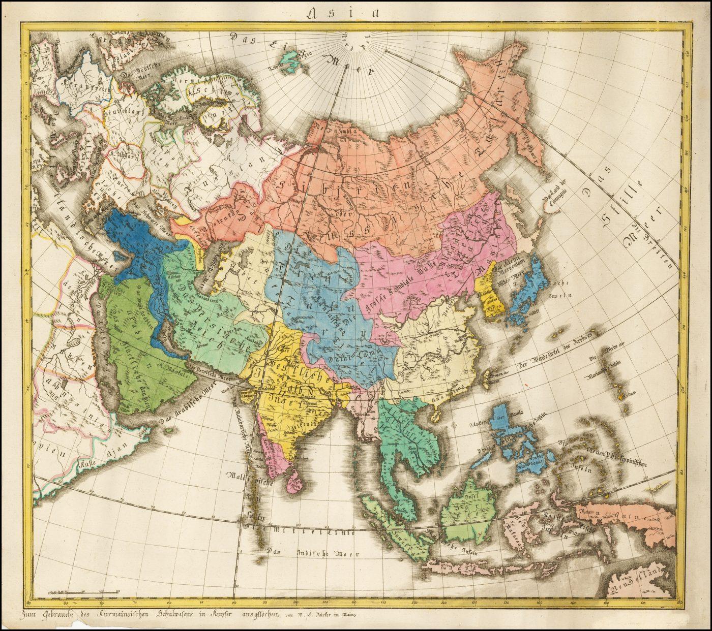 Чрезвычайно редкая карта Азии, опубликованная Рукером в Майнце, 1775 год