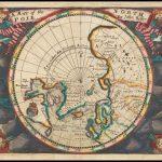 Чрезвычайно редкая миниатюрная карта Северного полюса, из атласа Maritimus