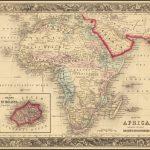 Декоративная и подробная карта Африканского континента, с врезной картой острова Святой Елены